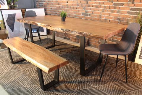 Acacia Natural Wood Live Edge Table with Black U-Shaped Legs/Natural
