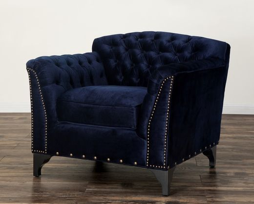 TOV Furniture Waterford Navy Velvet Club Chair | Best of TOV Brand