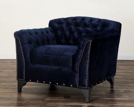 TOV Furniture Waterford Navy Velvet Club Chair | Best of TOV Brand
