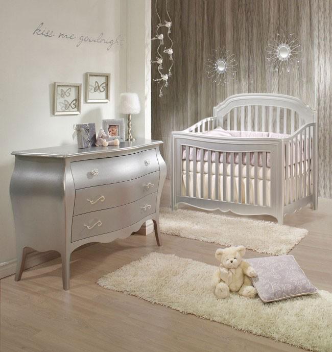 Natart Alexa 2 Piece Nursery Set in Silver - Crib and 3 Drawer Dresser