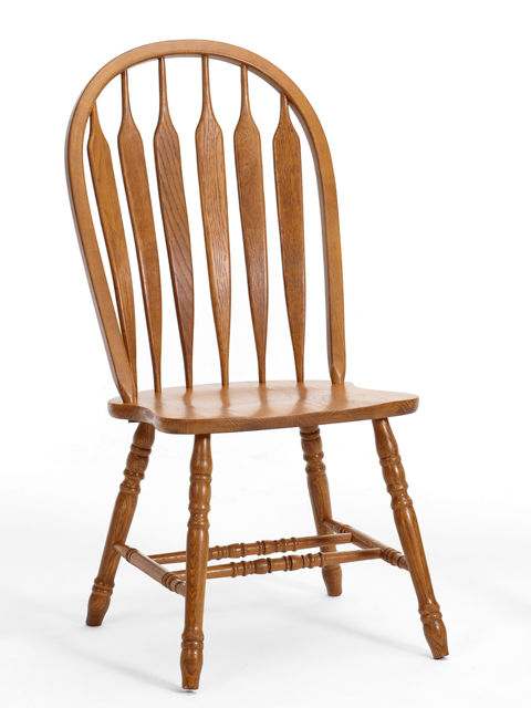 Classic Oak Chestnut Curved Arrowback Chairs | Unclaimed Freight