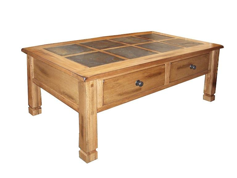 SD-3143RO - Sedona Rustic Oak Coffee Table with Slate Inlay Top