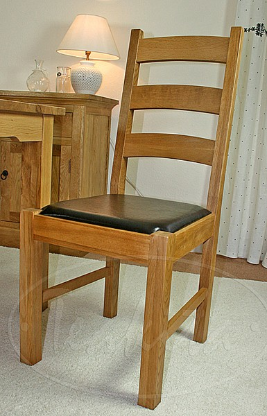 Oxford Solid Oak And Leather Ladder Back Dining Chair Within Chairs