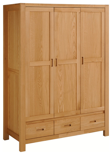 Ethan French Oak 3-Door, 3-Drawer Wardrobe Cabinet - Transitional