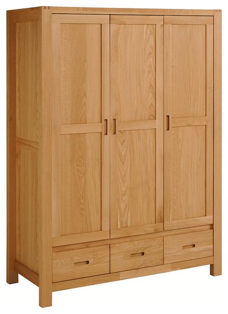 Ethan French Oak 3-Door, 3-Drawer Wardrobe Cabinet - Transitional