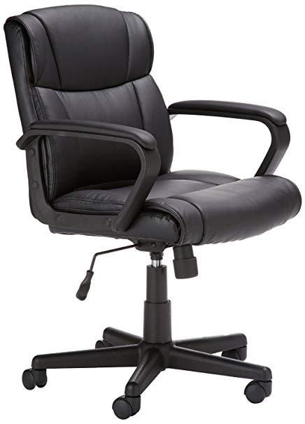 Amazon.com: AmazonBasics Classic Leather-Padded Mid-Back Office