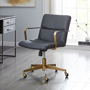 Cooper Mid-Century Leather Swivel Office Chair | west elm
