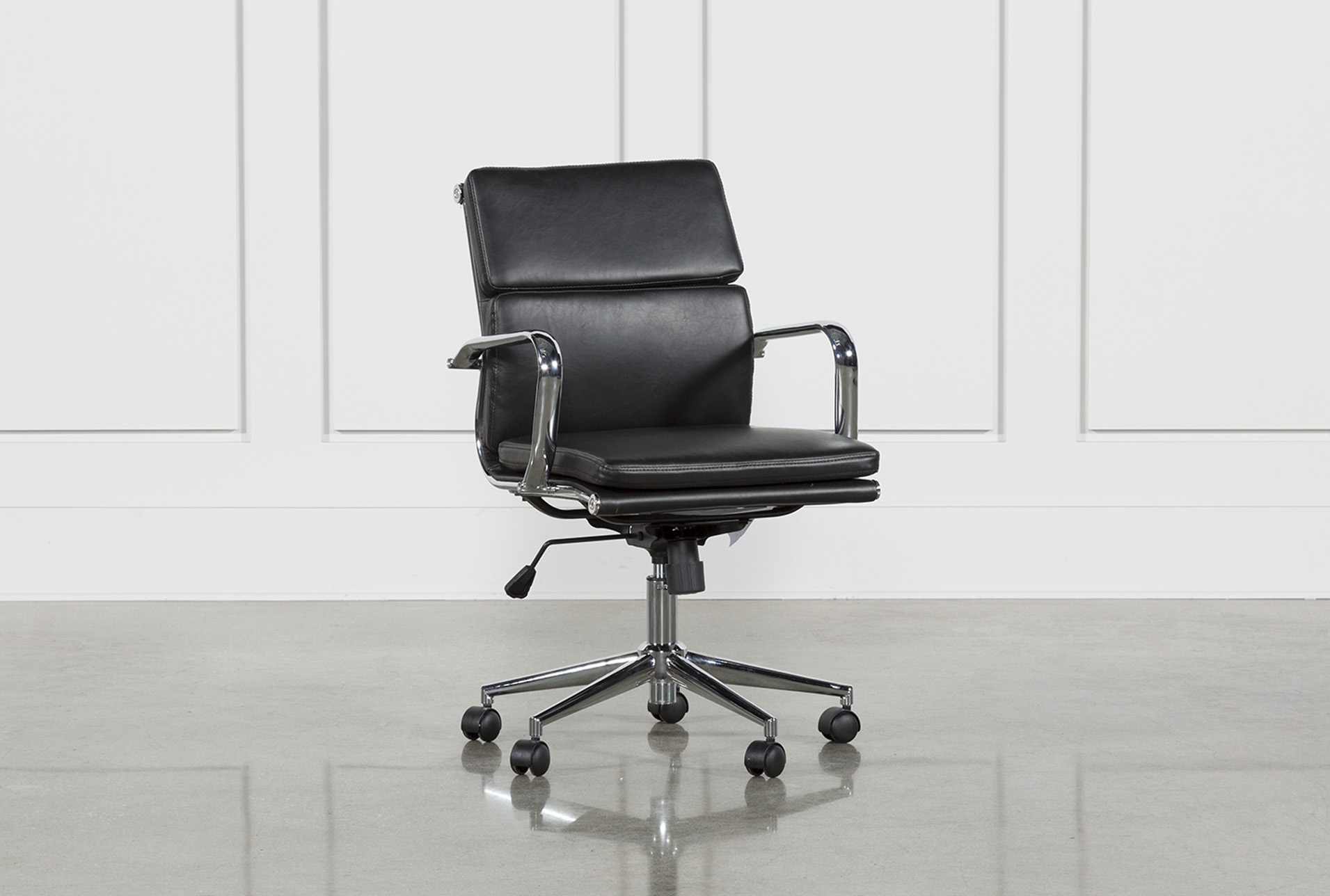 Moby Black Low Back Office Chair   Living Spaces