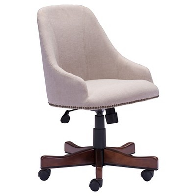 High Back Nail Head Upholstered Office Chair - Beige - ZM Home : Target