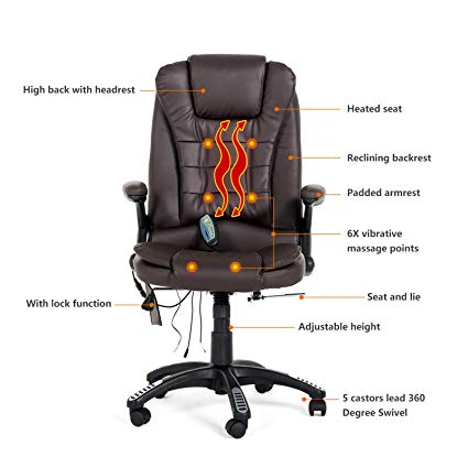 Amazon.com: Mecor Heated Office Massage Chair-High-Back PU Leather
