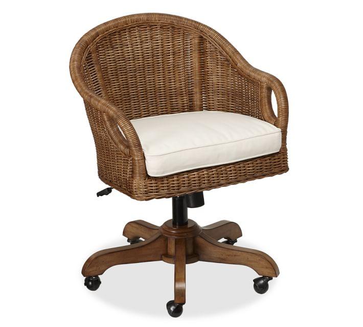 Wingate Rattan Swivel Desk Chair | Pottery Barn