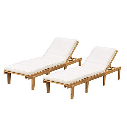 Amazon.com : Great Deal Furniture Outdoor Teak Wood Chaise Lounge