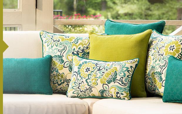 Decorative Outdoor Pillows, Cushions, & Umbrellas
