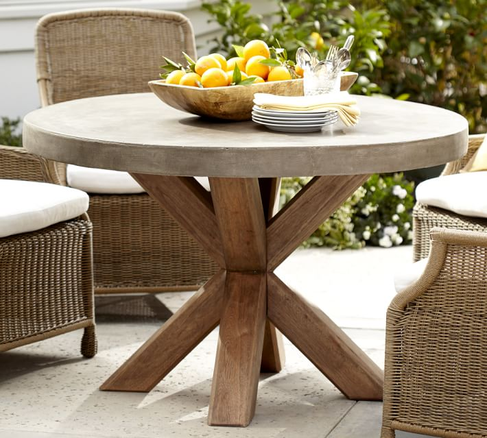 Abbott Round Dining Table, Brown | Pottery Barn