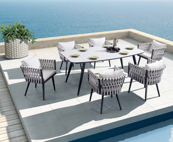 Crown 7pc Outdoor Dining Setting (6 Seat) u2013 Indosoul