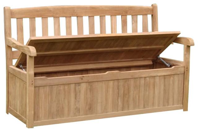 Teak Outdoor Devon Storage Bench, 5' - Contemporary - Outdoor