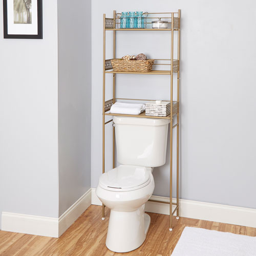 North Oaks Magnolia Bathroom Collection Space Saver, Gold Cpbe1058