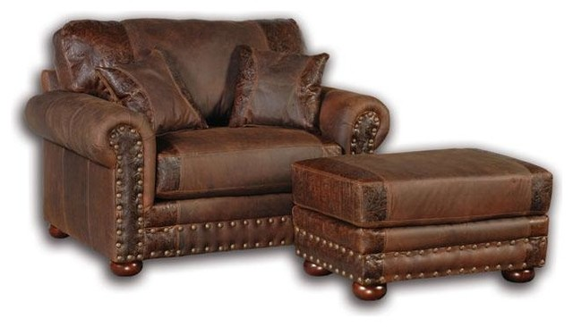 Western Rustic Leather Oversized Chair - Armchairs And Accent Chairs