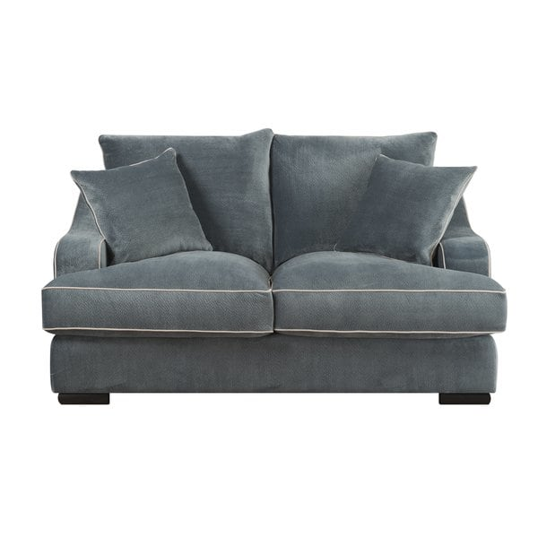 Shop Emerald Caresse Marine Blue Plush Oversized Loveseat - Free