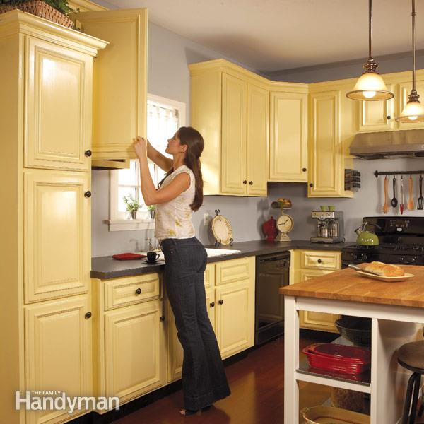 How to Spray Paint Kitchen Cabinets u2014 The Family Handyman