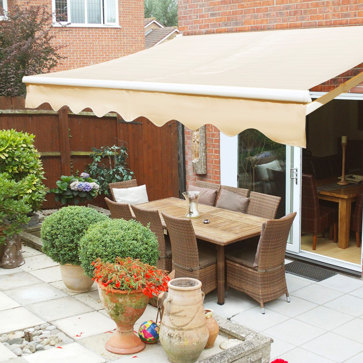 XtremepowerUS 12'x10' Retractable Patio Awning, Manual,Tan - Walmart.com