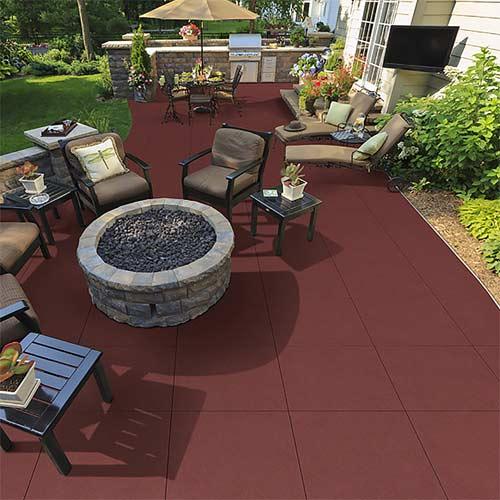 Patio Rubber Floor Tile - Sterling Patio Flooring 2 inch, Terra Cotta