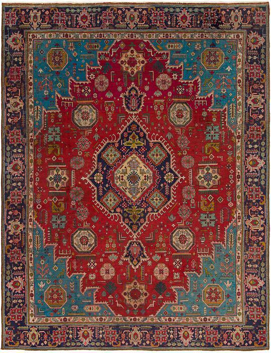Red 9' 5 x 12' 4 Tabriz Persian Rug | Persian Rugs | eSaleRugs