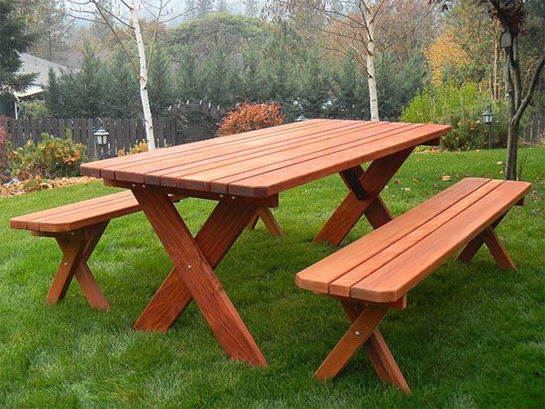 Classic Redwood Picnic Table Set | Gold Hill Redwood Products