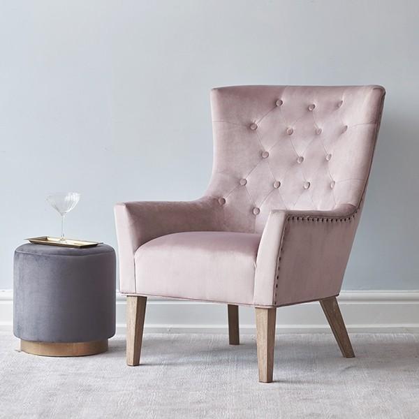 Viola Buttoned Armchair Dusky Pink Velvet | Brissi