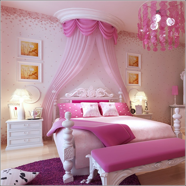 15 Cool Ideas For Pink Girls Bedrooms | Home Design, Garden