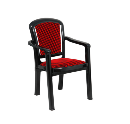Cushioned Chair With Arms - PLUSH Red Cushioned Plastic Chair