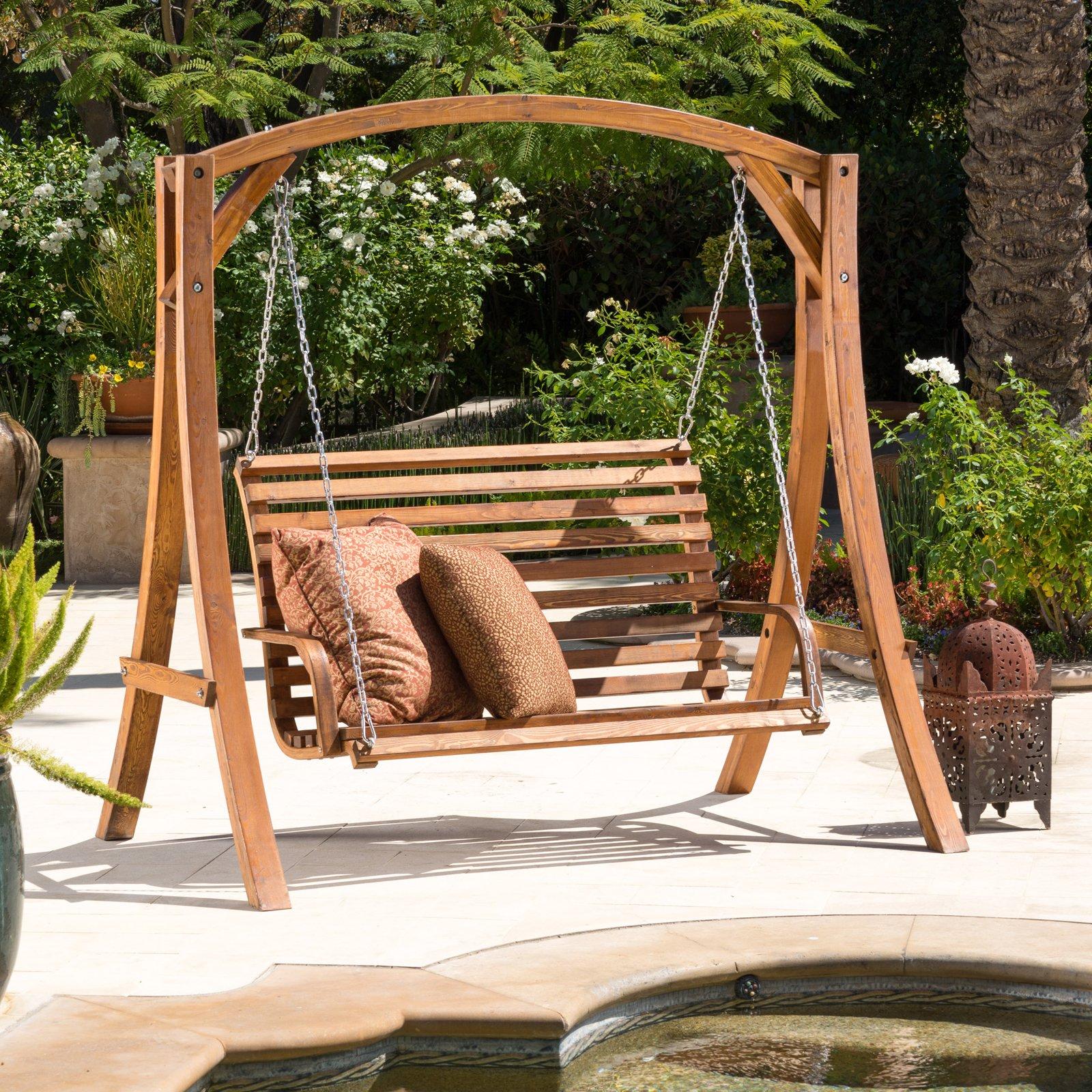 Weyburn Wood Porch Swing - Walmart.com