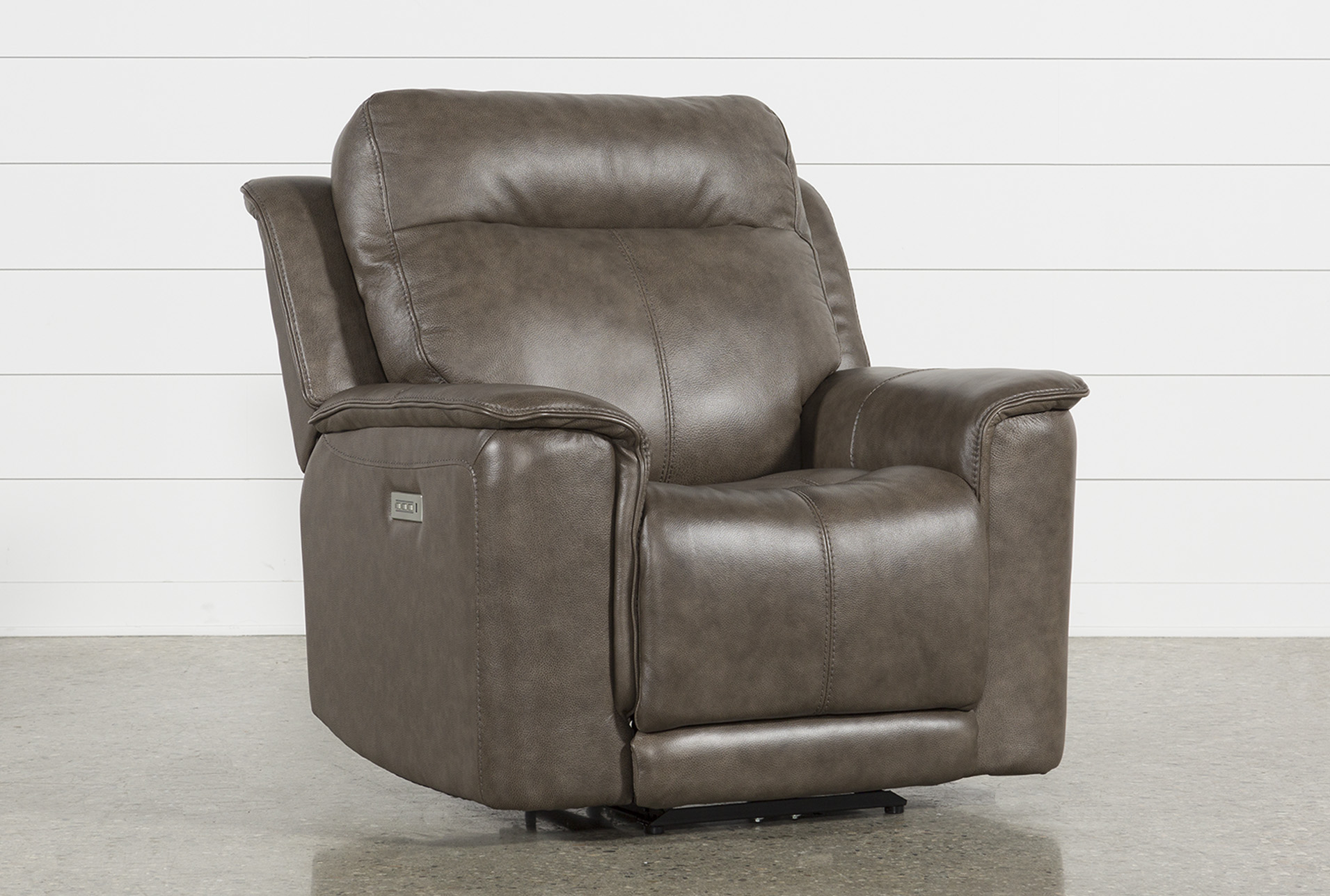 Walsh Mink Power Recliner W/Power Headrest, Lumbar & Usb   Living Spaces