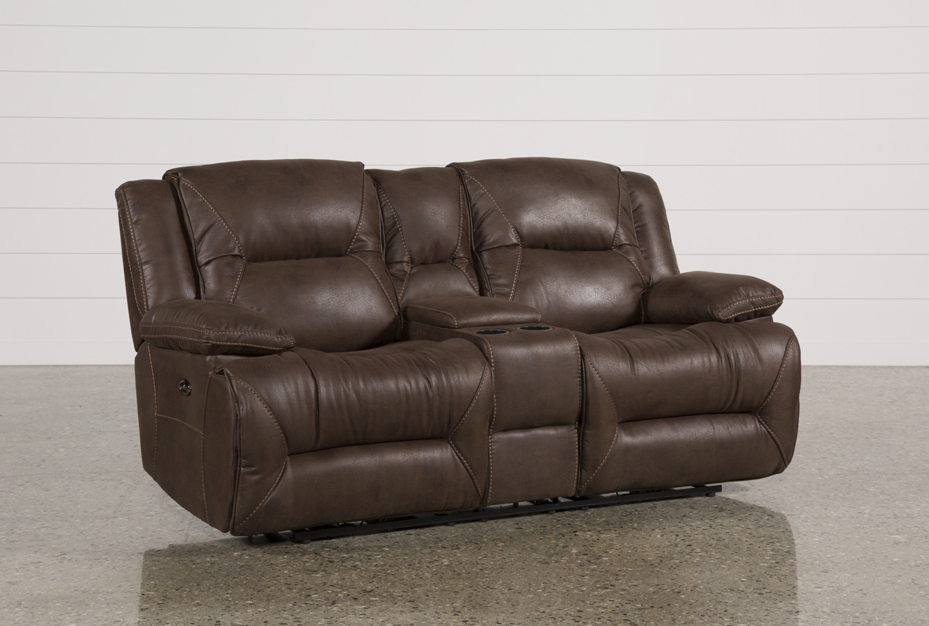 Calder Brown Power Reclining Loveseat W/Console | Living Spaces