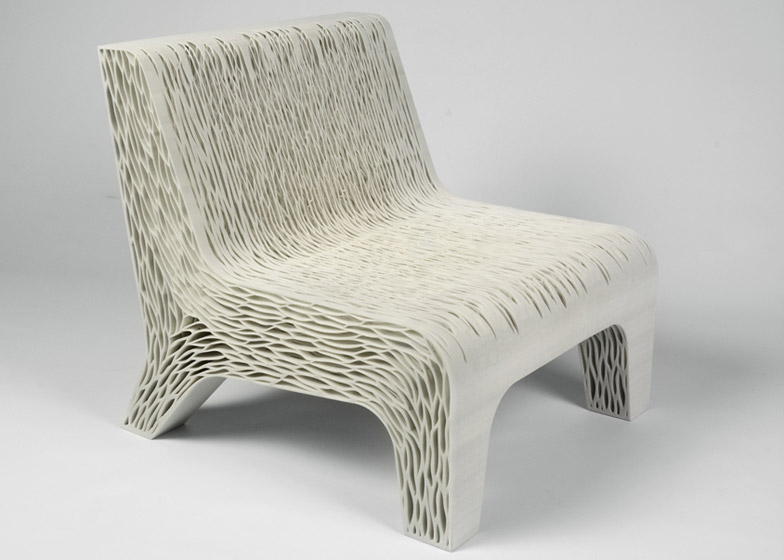 Chair by Lilian van Daal replaces upholstery with 3D-printed structure