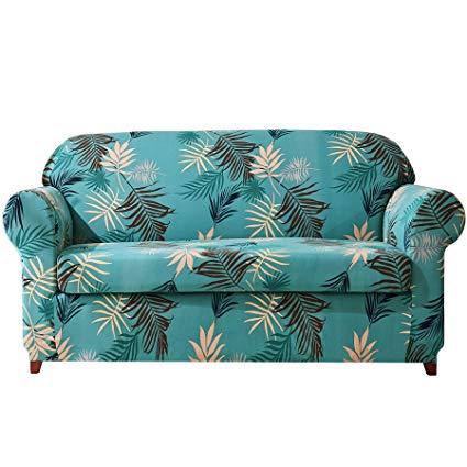 Amazon.com: Subrtex 2-Piece Leaves Printed Stretch Sofa Slipcovers