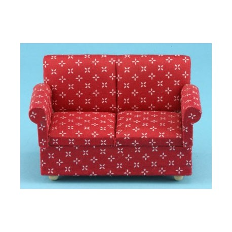 Miniature Red Printed Loveseat | Dollhouse Living Room Furniture