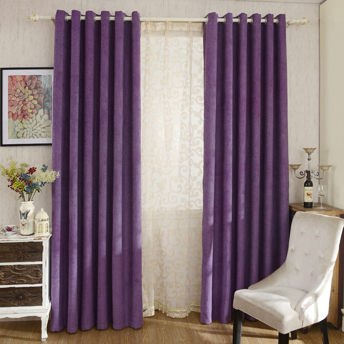 Thick Chenille Fabric Romantic Purple Blackout and Insulated Bedroom