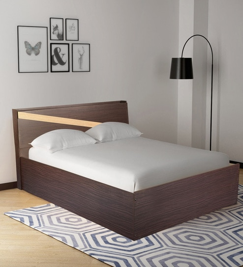 Buy Hitomu Queen Size Bed with Headboard Storage in Walnut Finish by