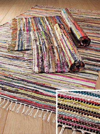 Hippy Rug~Multi Coloured Rag Rug Eco Recycled Hippy Rug 60 x 90cm
