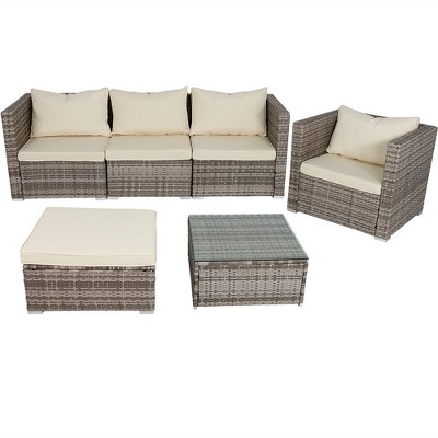 Boa Vista 6pc Rattan Sofa Patio Furniture Set With Cushions - Beige