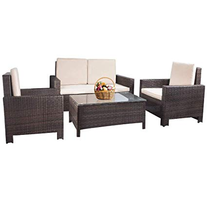 Amazon.com : Patio Furniture Set 4pcs Outdoor PE Rattan Wicker Sofa