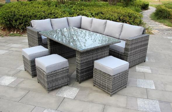 Yakoe® Grey 9 Seater Conservatory Dining set Rattan | Furniture Maxi