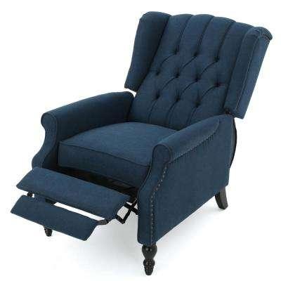 Walter Dark Blue Fabric Recliner