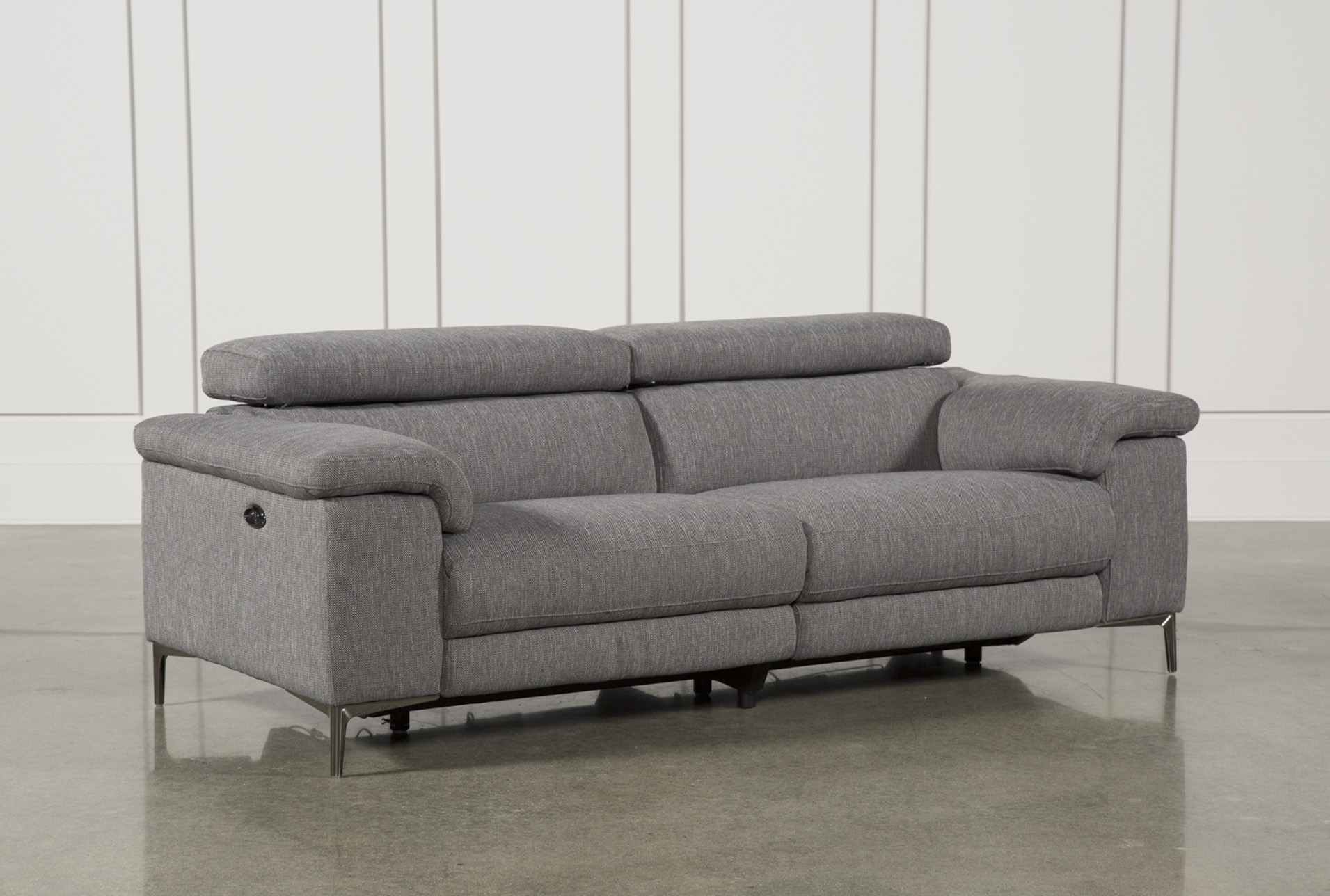 Talin Grey Power Reclining Sofa W/Usb   Living Spaces