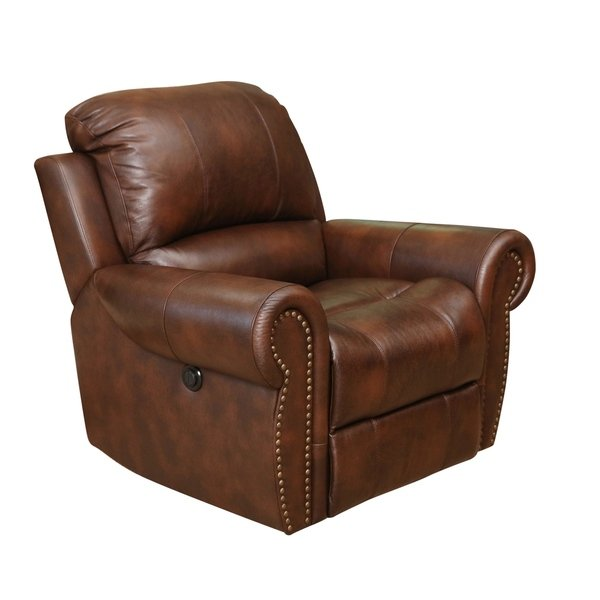 Shop Abbyson Sterling Top Grain Leather Power Recliner Arm Chair