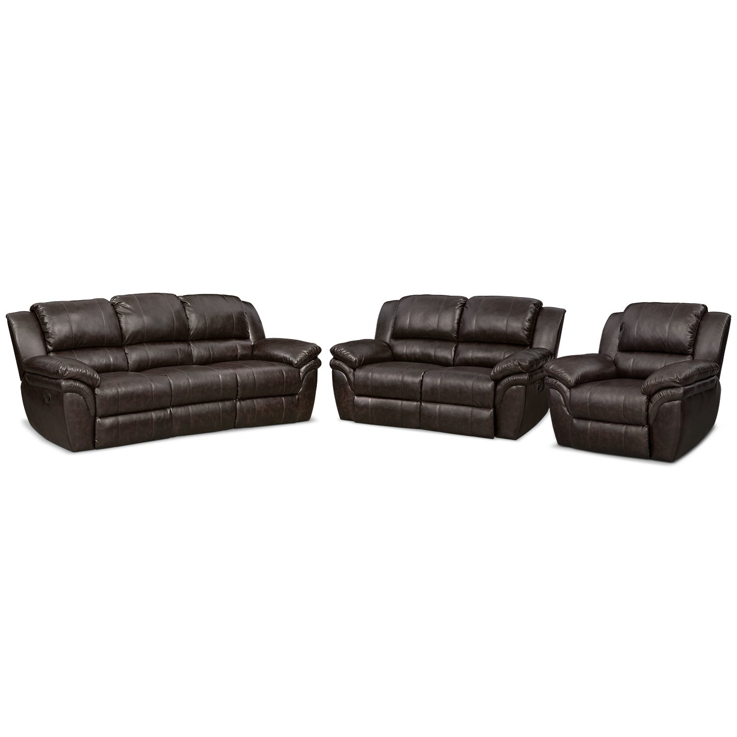 Aldo Manual Reclining Sofa, Loveseat and Recliner Set | Value City