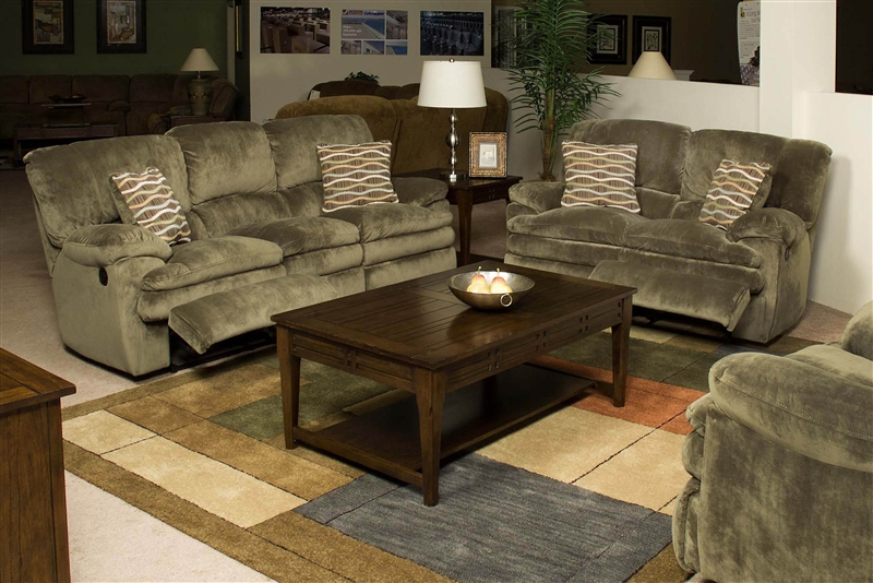 Easton 2 Piece Reclining Sofa & Loveseat Set in Sage Fabric by