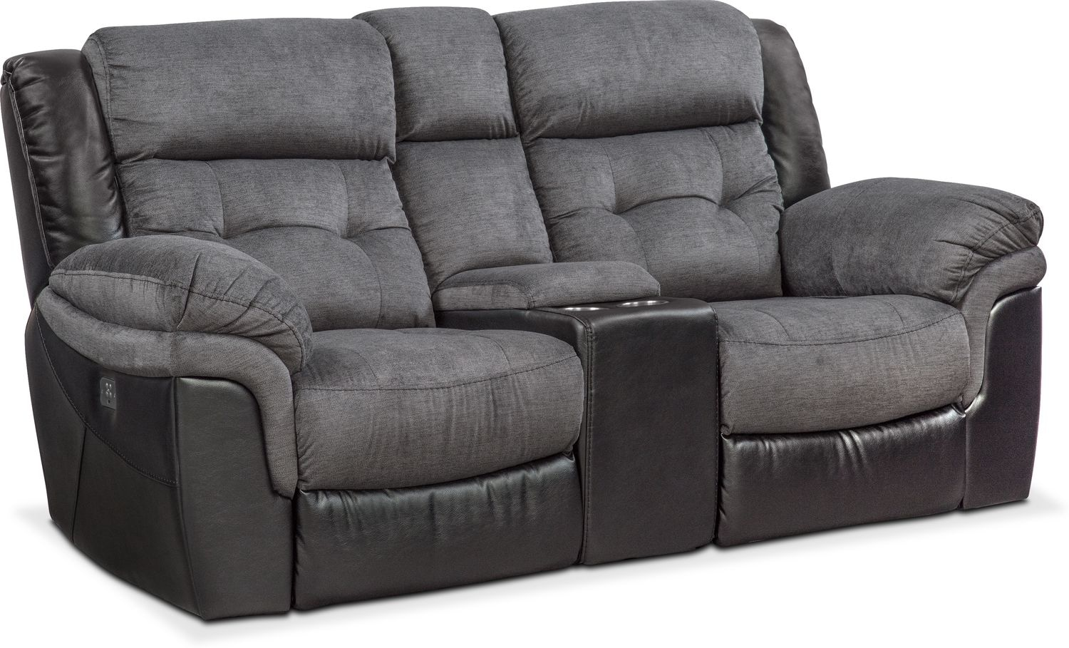 Tacoma Dual Power Reclining Loveseat with Console - Black
