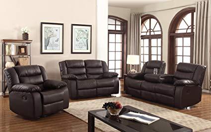 Amazon.com: U.S. Livings 2-PC Dark Brown Polyurethane Leather